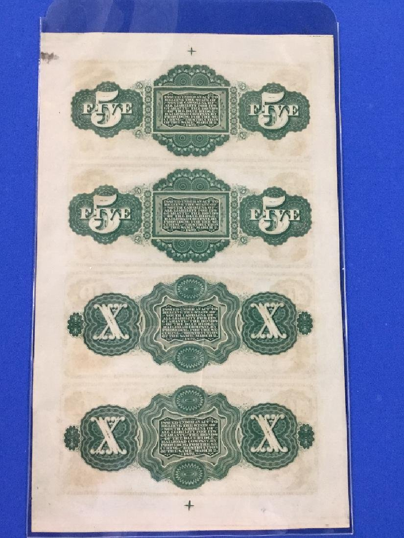 Uncut sheet 1872 The State of South Carolina Notes - 3