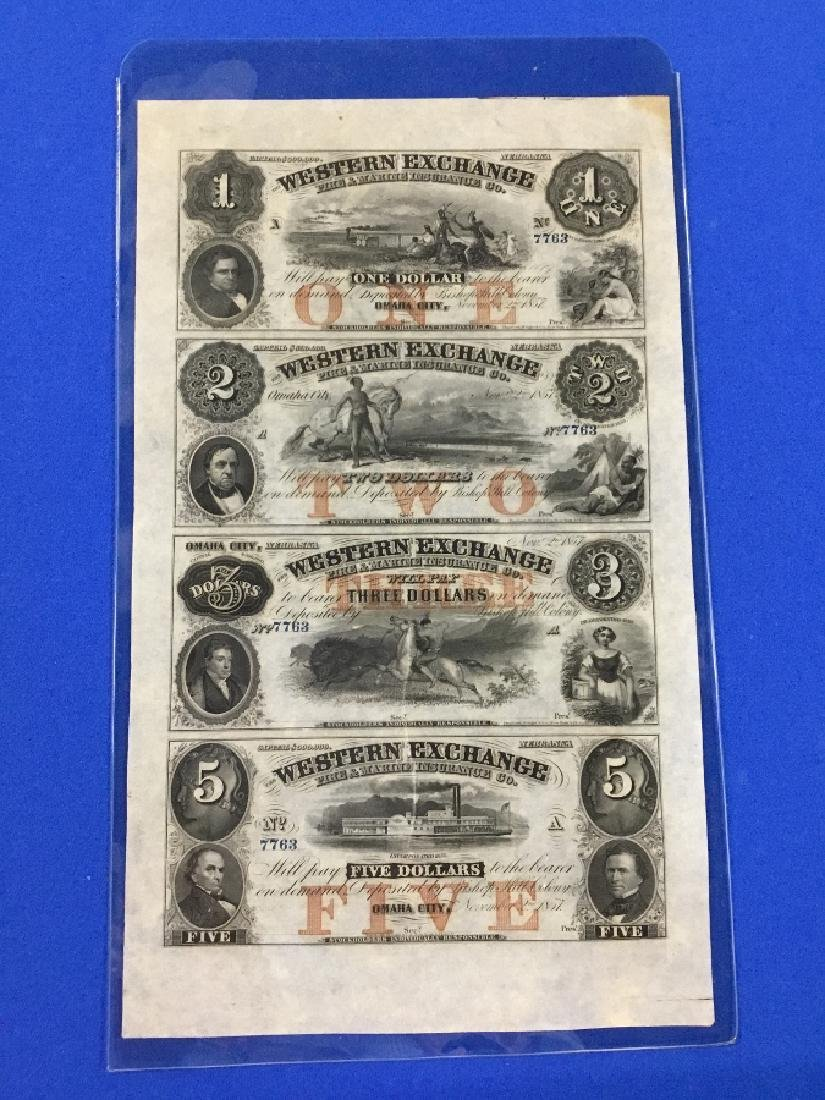 Uncut sheet 1872 The State of South Carolina Notes - 4