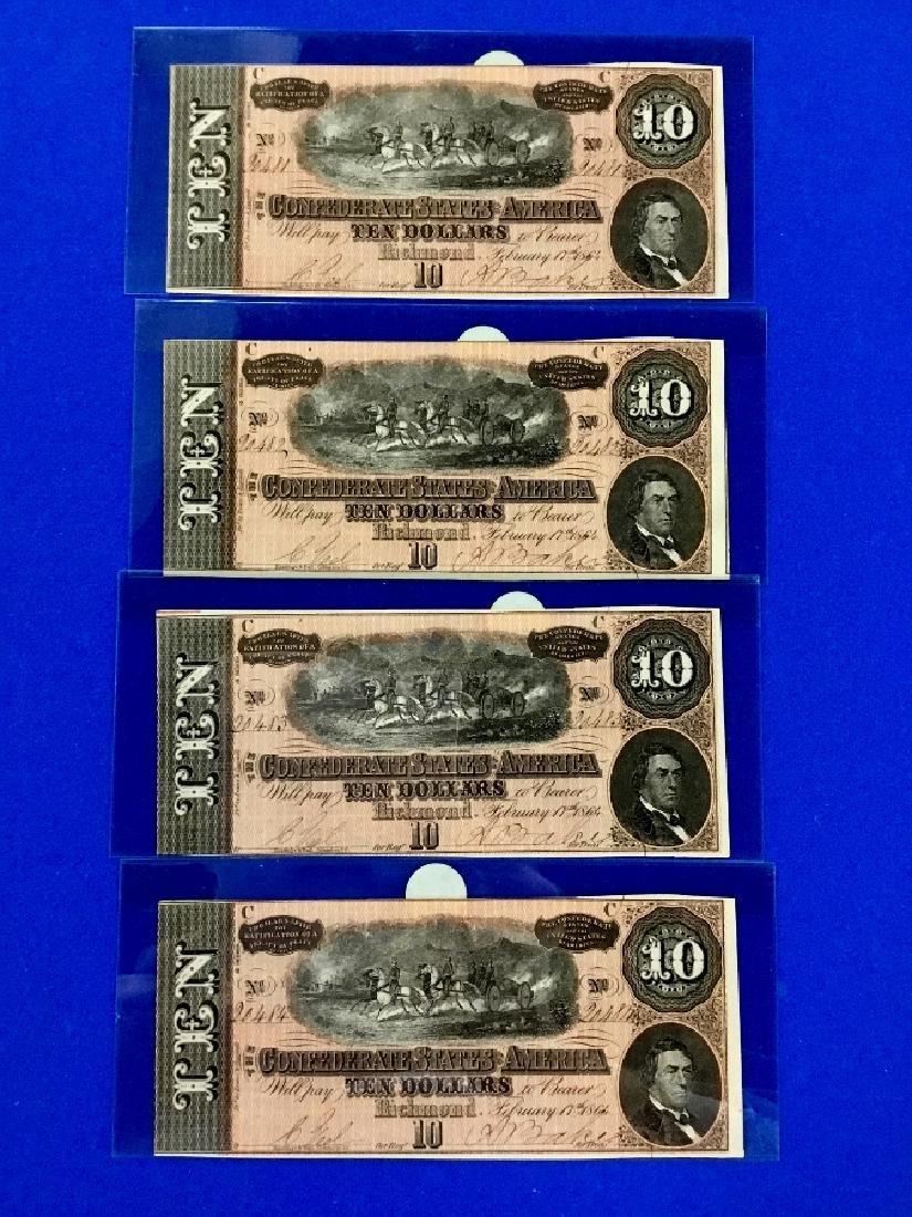 Lot of 4 CSA Notes T-68 Ten Dollar Consecutive notes