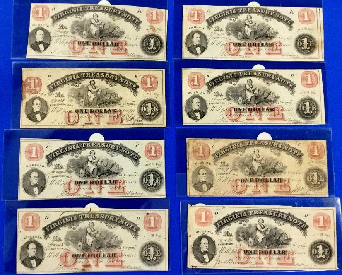 Lot of 8 Virginia Type 18 One Dollar Treasury Sets
