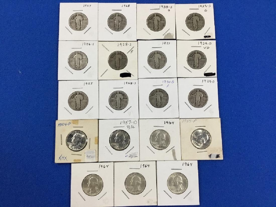 Lot of 19 Standing Liberty and Washington Quarters.