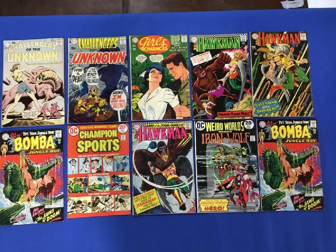 Lot of 10 DC Comics Hawkman, Bomba Jungle Boy,