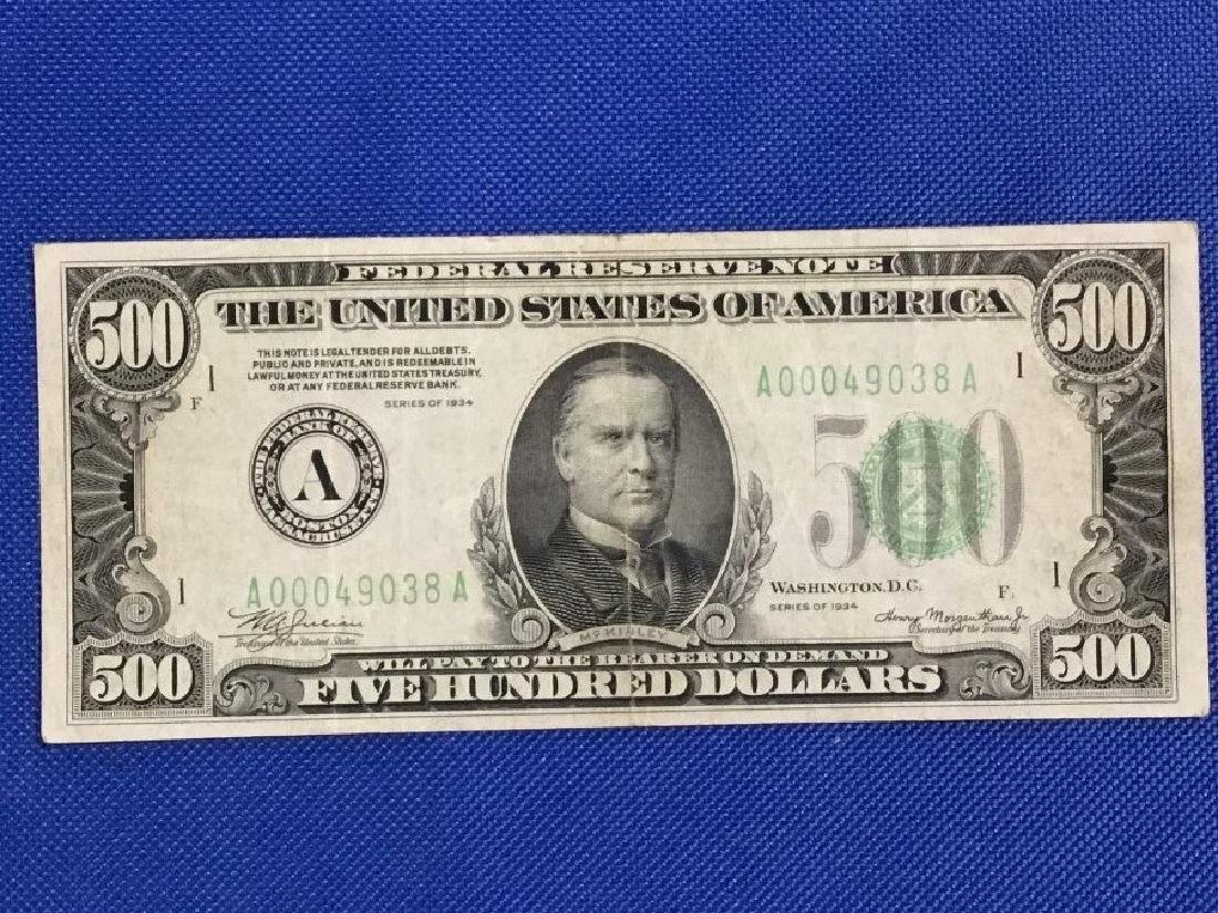 1934 Boston $500 Note