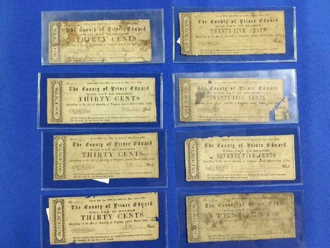 Lot of 8 County of Prince Edward VA Obsolete Notes