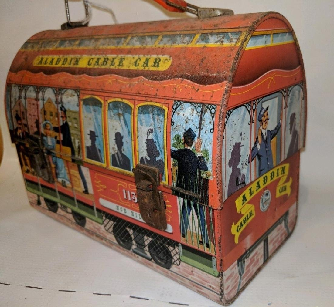 1962 Aladdin Cable Car Metal Dome Lunch Box - 3