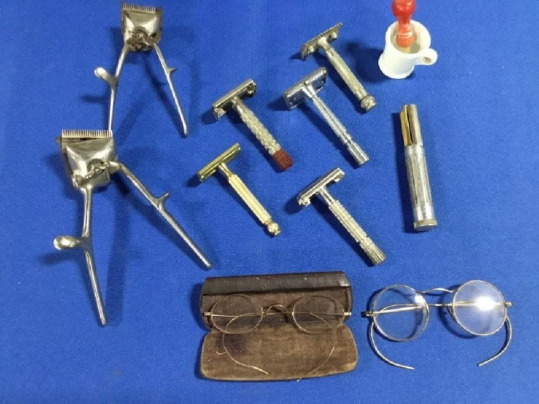 Vintage Lot of 6 Razors, 2 Shears, 2 Pairs of Glass and