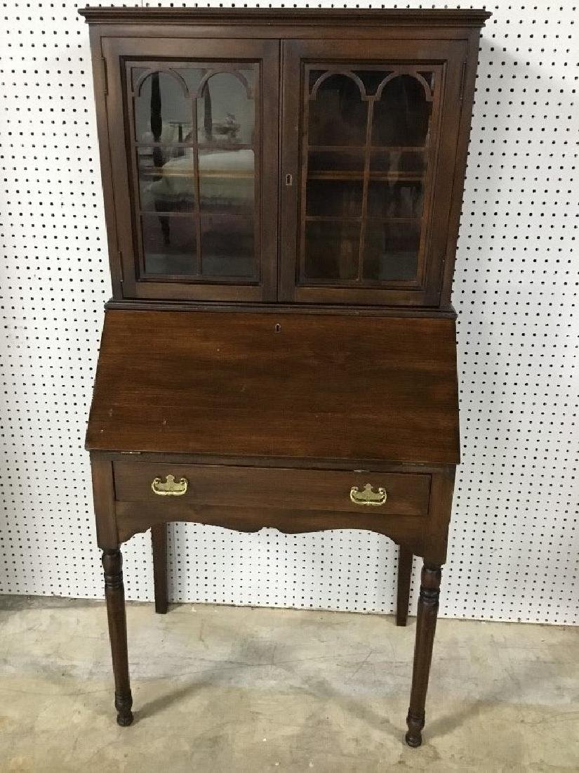 Solid Walnut Secretary Bookcase