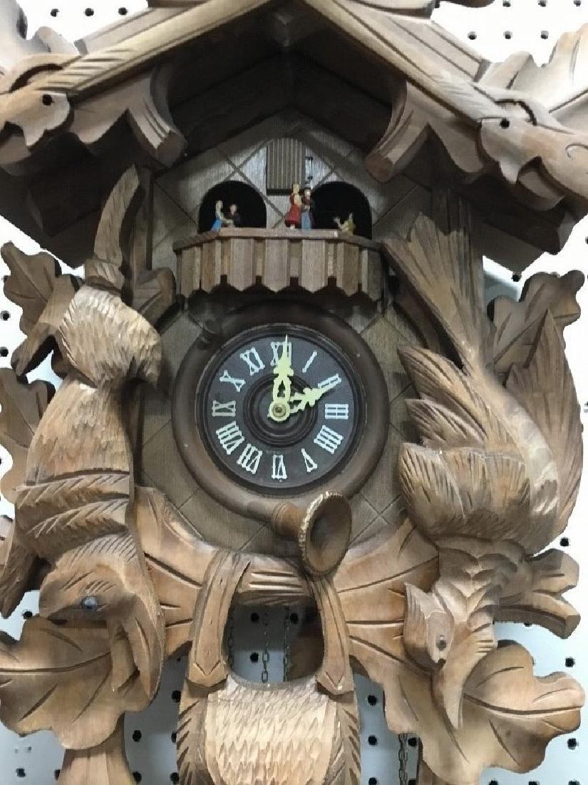 Hand Carved German Hunters Style Walnut Cuckoo Clock - 2