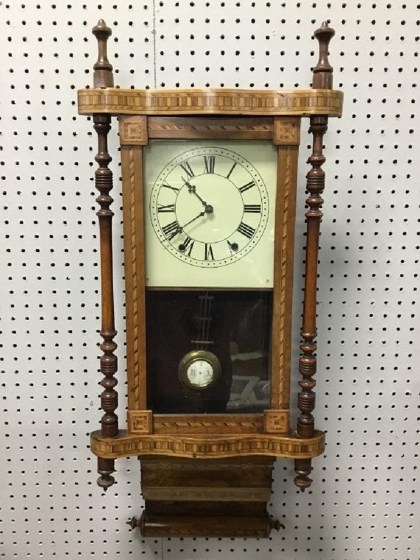 Inlaid Walnut Victorian Wall Clock