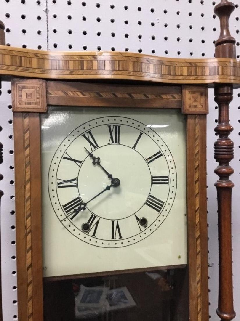 Inlaid Walnut Victorian Wall Clock - 3