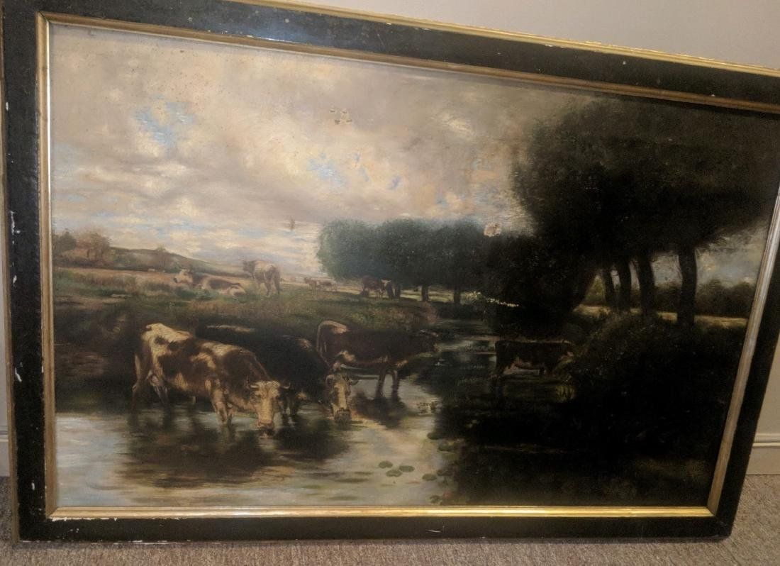 19th Century Landscape with Cows, oil on canvas,