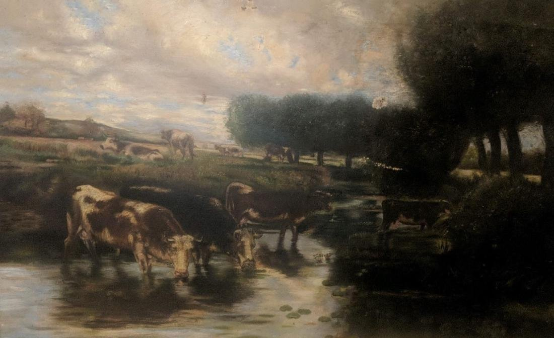 19th Century Landscape with Cows, oil on canvas, - 2