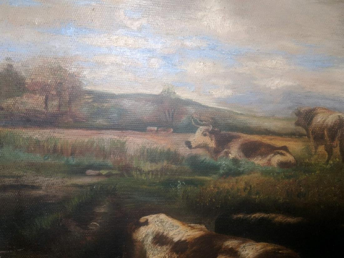 19th Century Landscape with Cows, oil on canvas, - 3