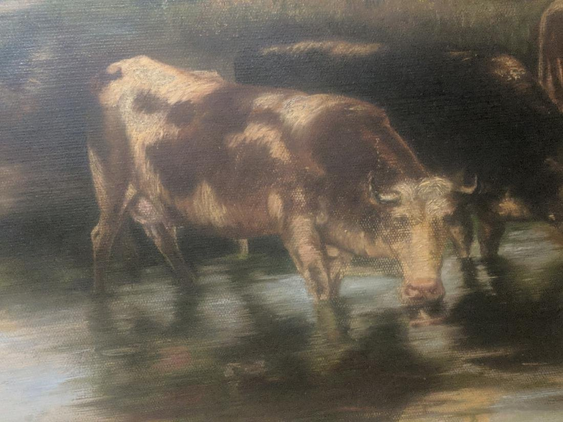 19th Century Landscape with Cows, oil on canvas, - 4