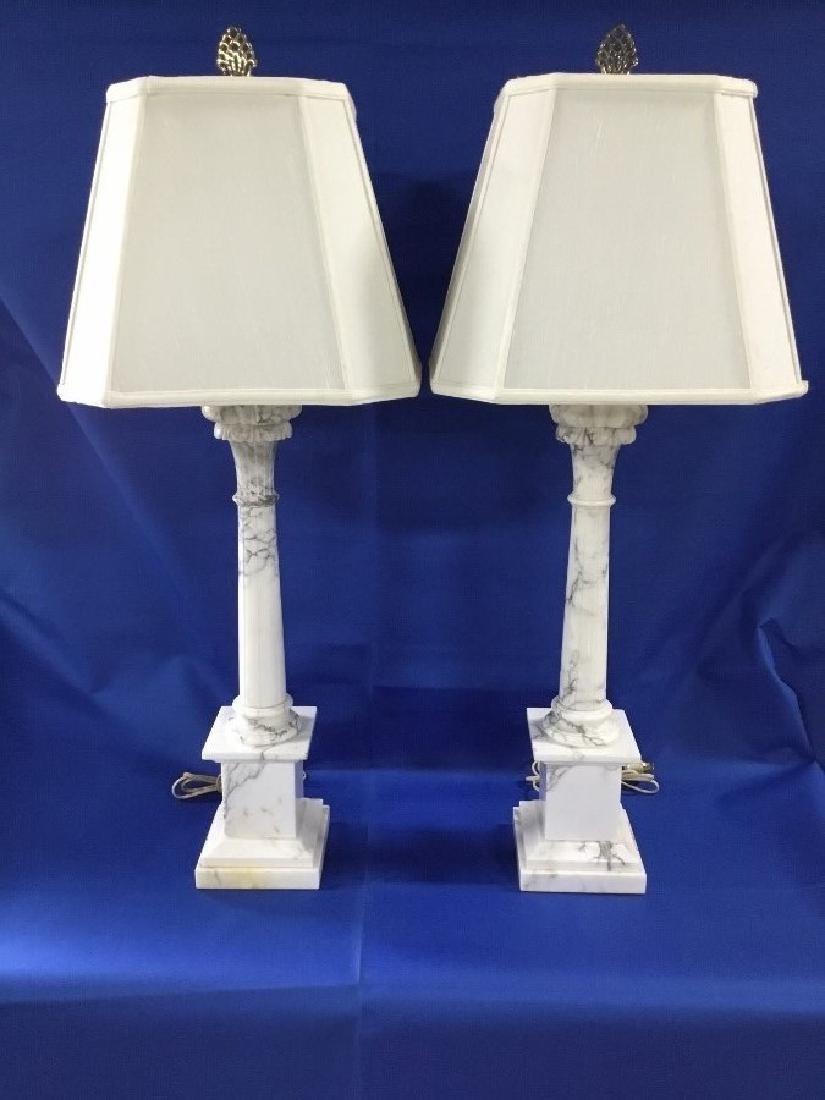 Pair of Vintage Italian Marble Lamps