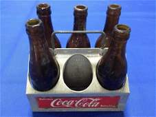 Coca-Cola Bottle Carrier and 5 Rare Amber Bottles