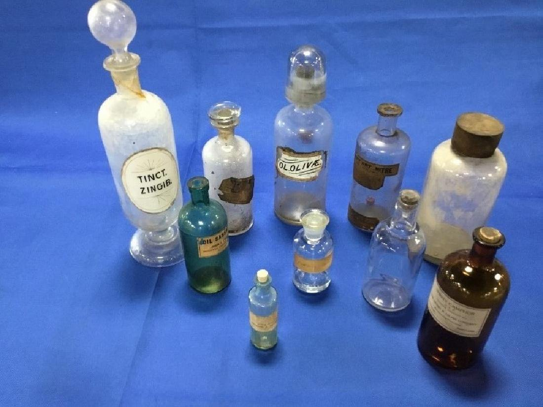 Lot of 10 Apothcary Jars & Bottles