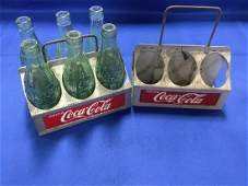 2 Coca-Cola Aluminum Bottle Carriers and 6 Bottles