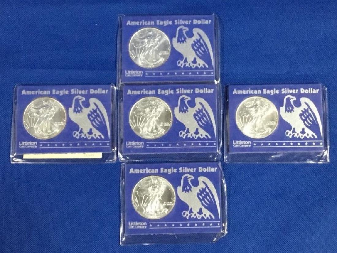 Lot of 5 American Eagle Silver Dollars