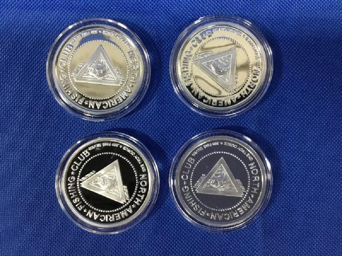 Lot of 4 North American Fishing Club Rounds, 1oz .999 - 2