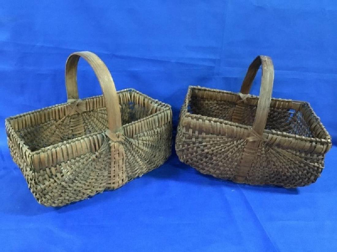 Lot of 2 Primitive Square Corner Gathering Baskets