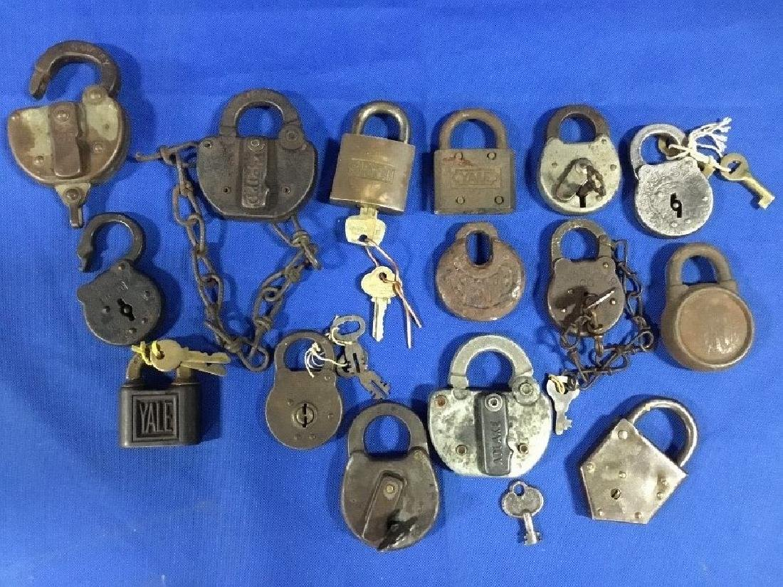 Collection of 15 Railroad Locks
