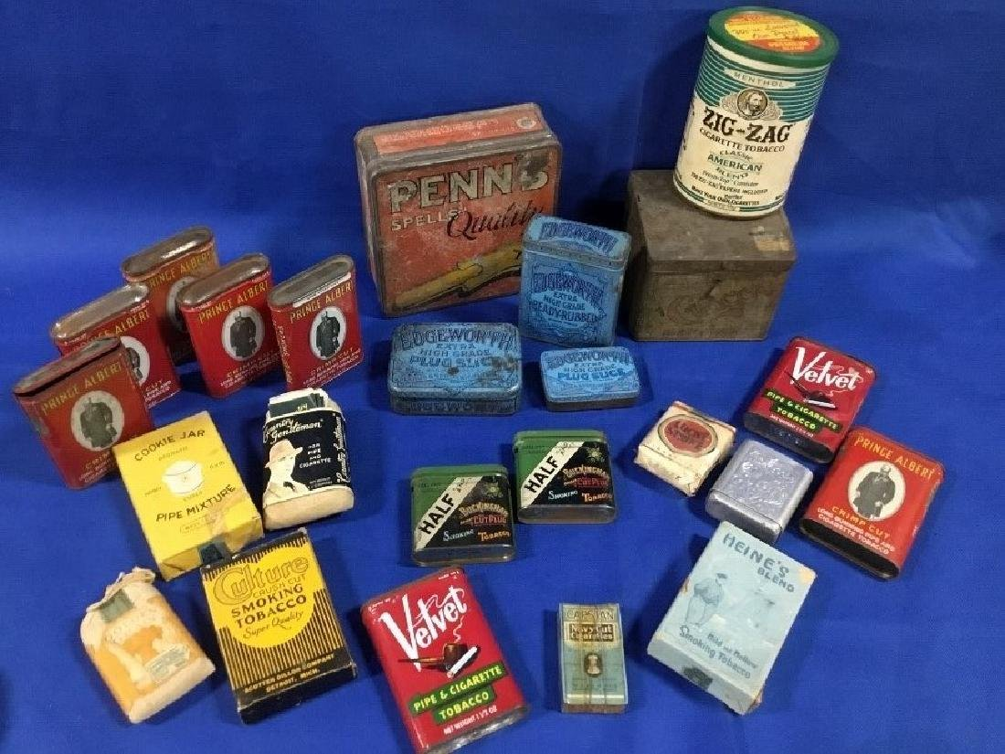 Large Lot of Vintage Tobacco Tins and Tobacco