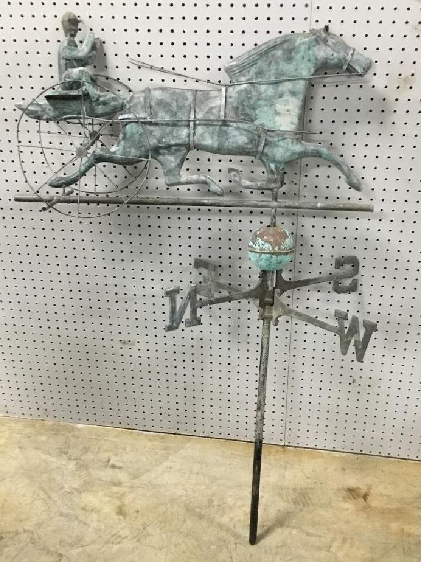 Vintage Copper Sulky Driver and Horse Weather Vane