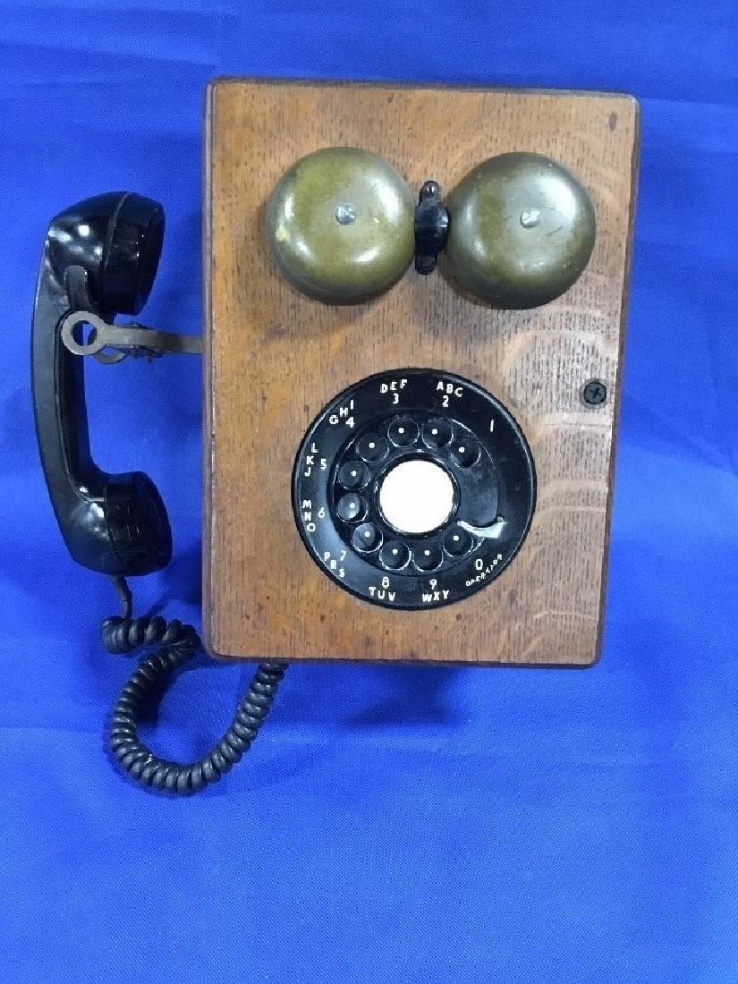 Unusual Oak Rotary Dial Phone