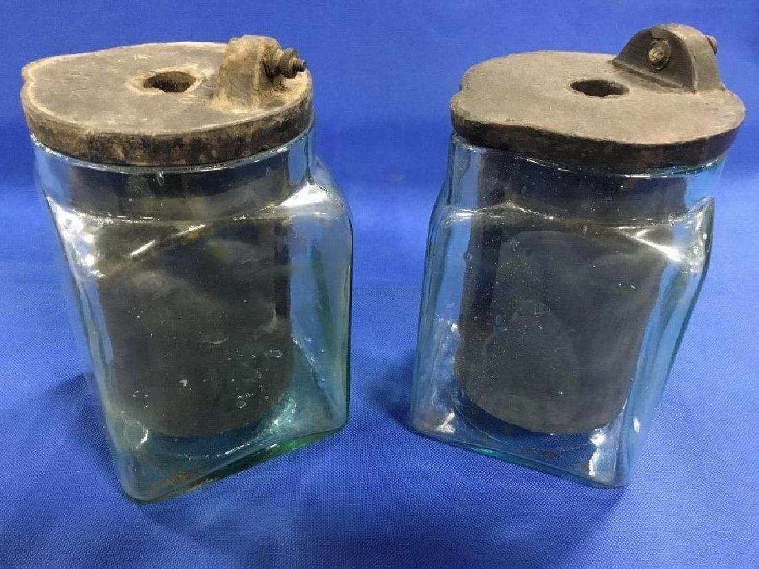 Pair of Vintage Aqua Glass Telegraph Batteries