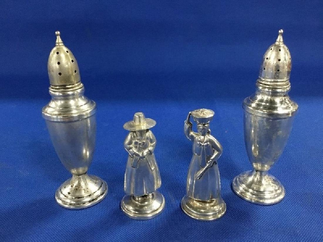 2 Pairs of Sterling Silver Salt and Pepper Shakers