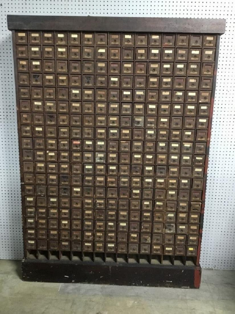 Antique Wooden Hardware Store Cabinet