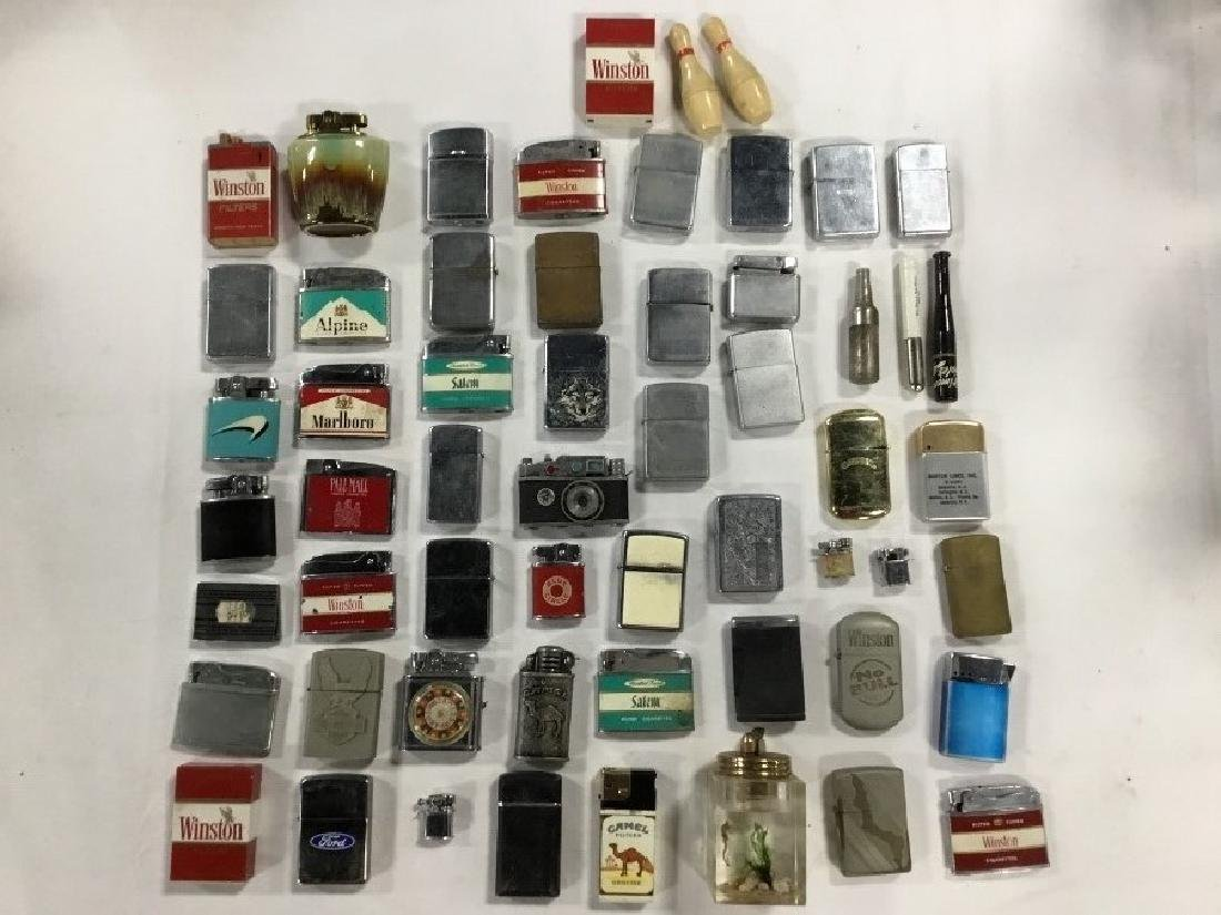Lot of 57 Vintage Advertising Lighters