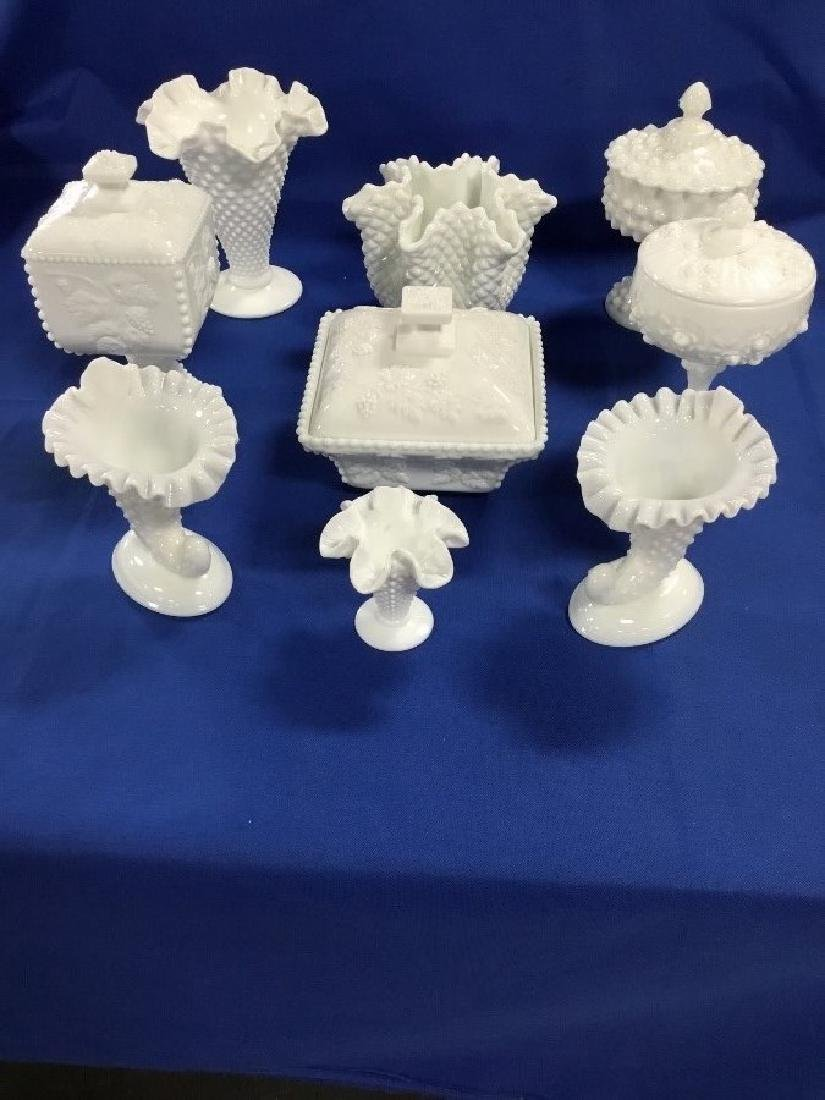 Lot of 9 Pieces of Milk Glass