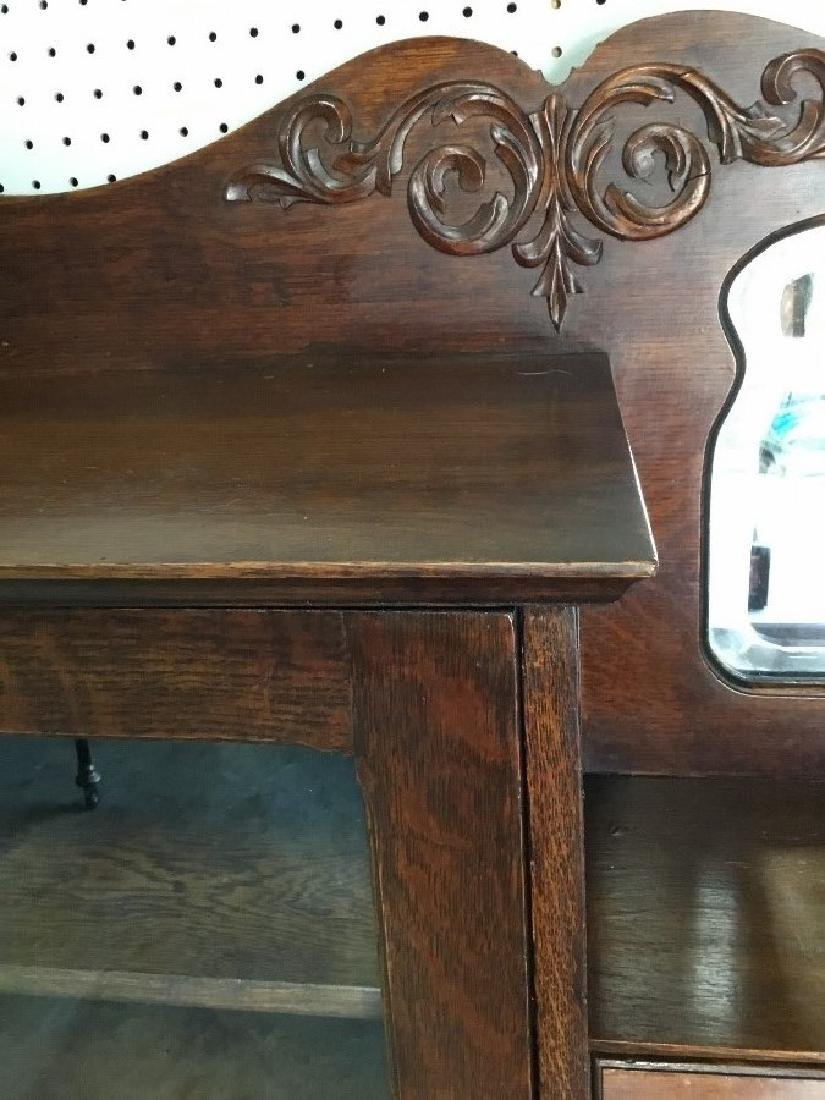 Solid Oak Bookcase, Secretary Desk - 2