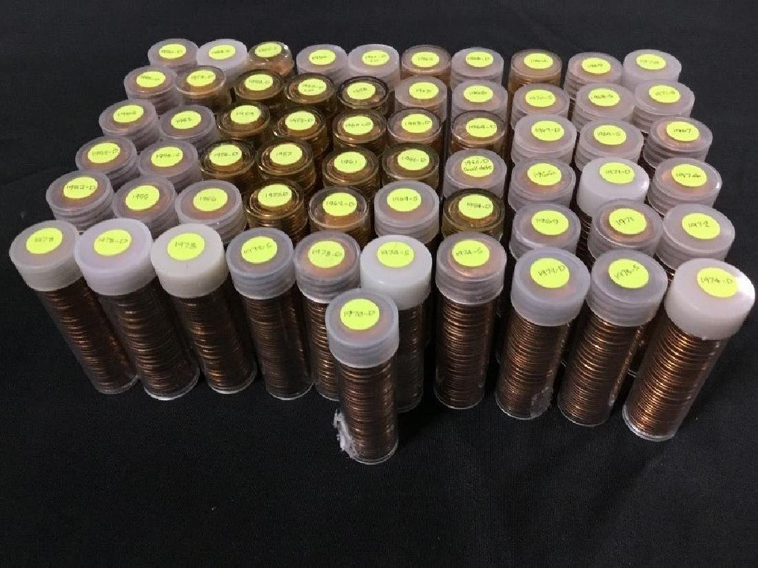 61 Rolls of Uncirculated Pennies, Brilliant Red