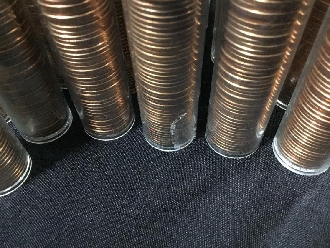 61 Rolls of Uncirculated Pennies, Brilliant Red - 5
