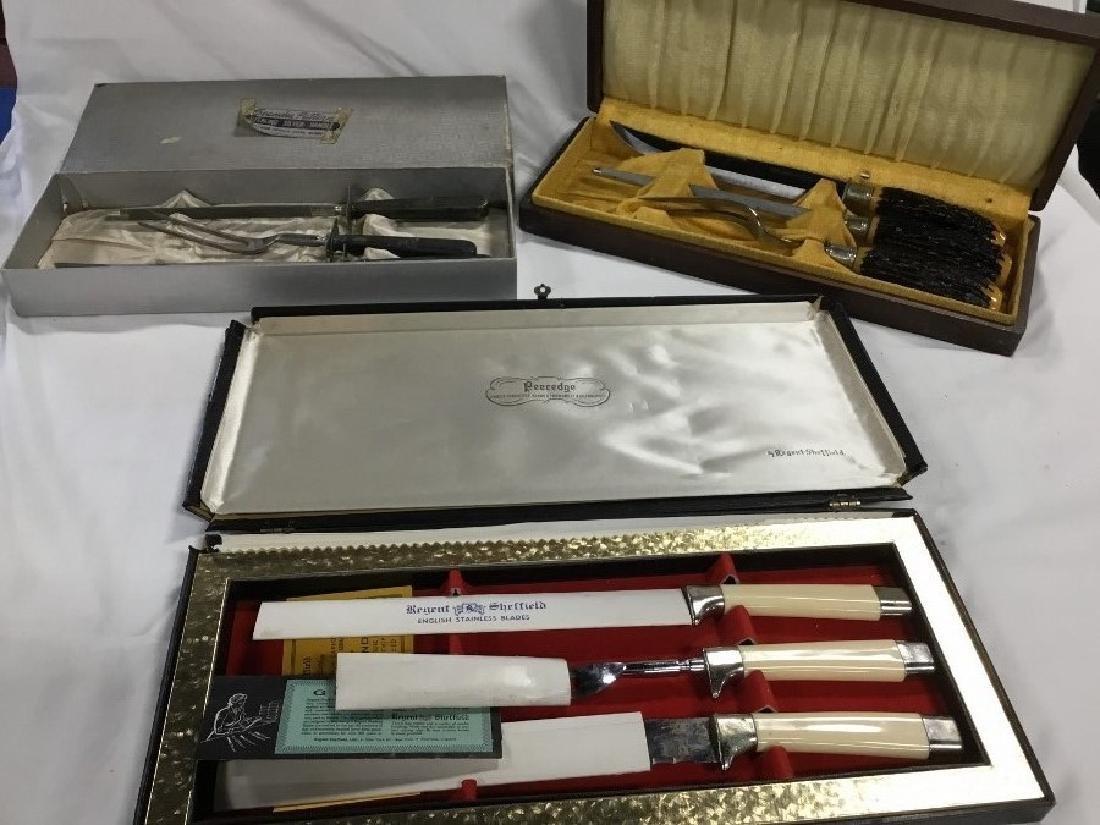 Lot of 3 Vintage Carving Knife Sets