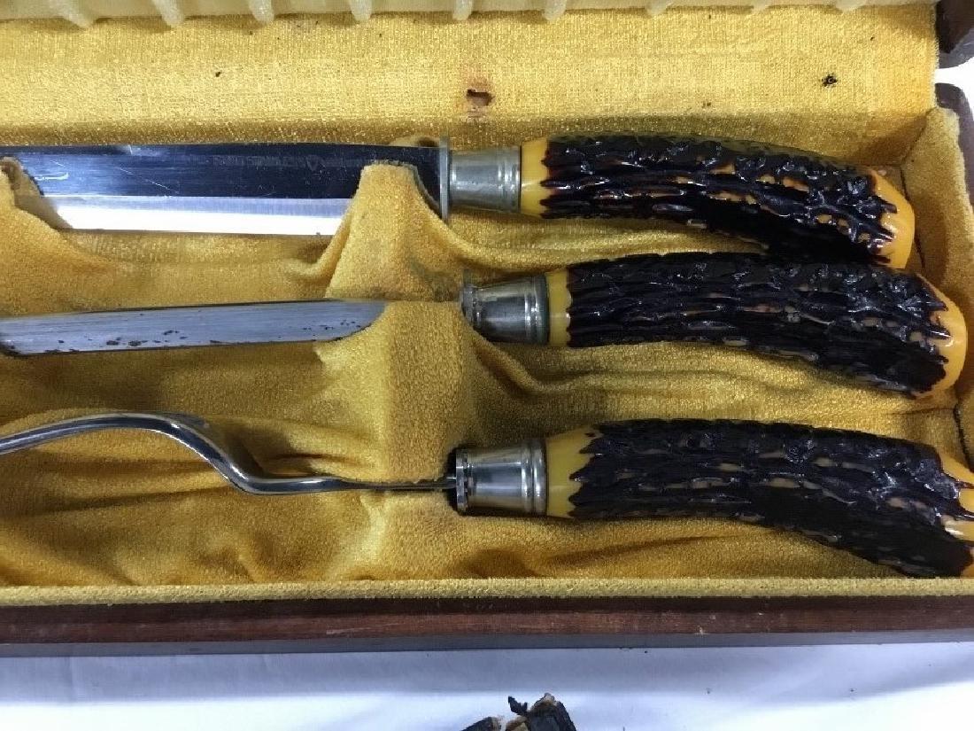 Lot of 3 Vintage Carving Knife Sets - 3