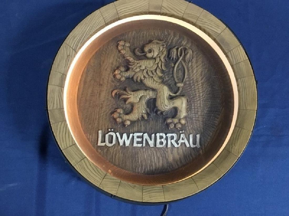 Lowenbrau Lighted Beer Barrel Sign