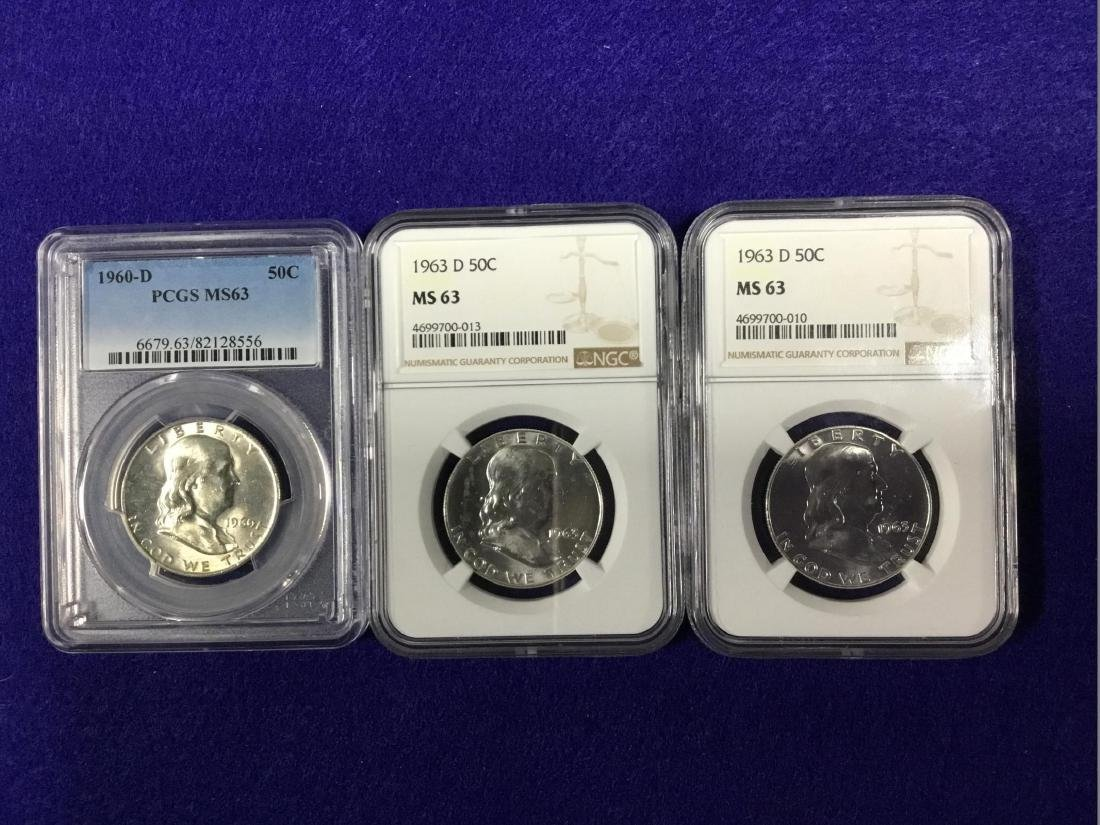Lot of 3 Franklin Half Dollars, NGC and PCGS MS63