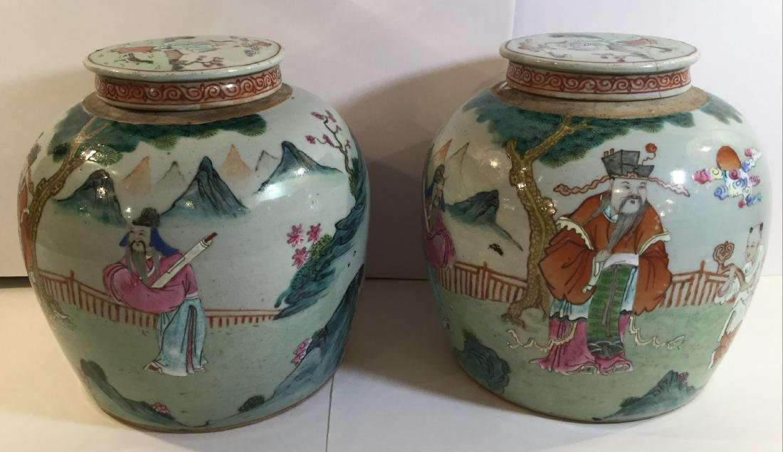 Pair of 19th century Chinese Famille Rose Porcelain