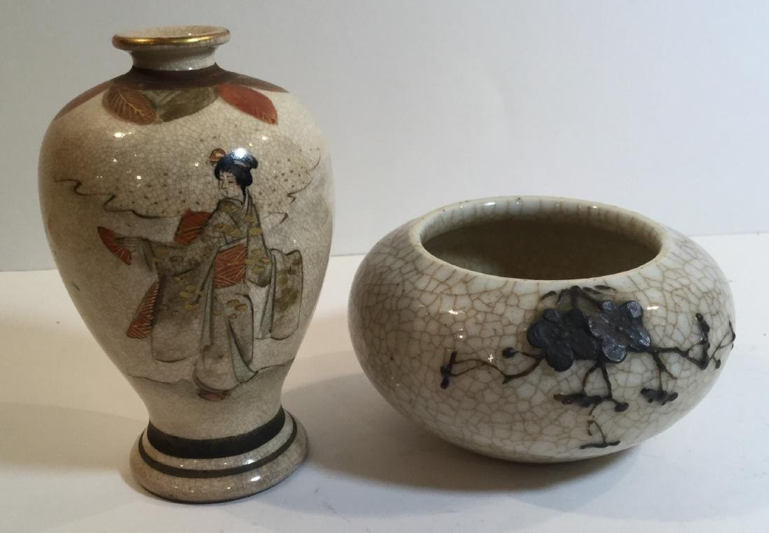 Two Japanese Satsuma Porcelain Pieces