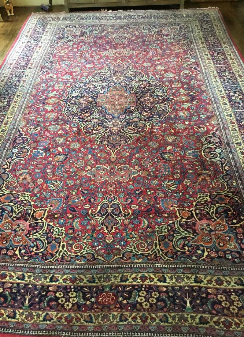 Large Signed Antique Mashad Carpet