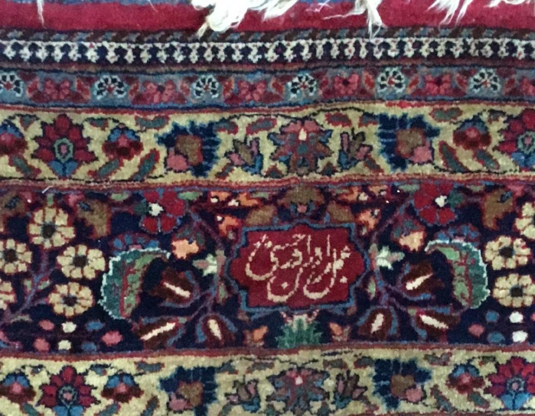Large Signed Antique Mashad Carpet - 3