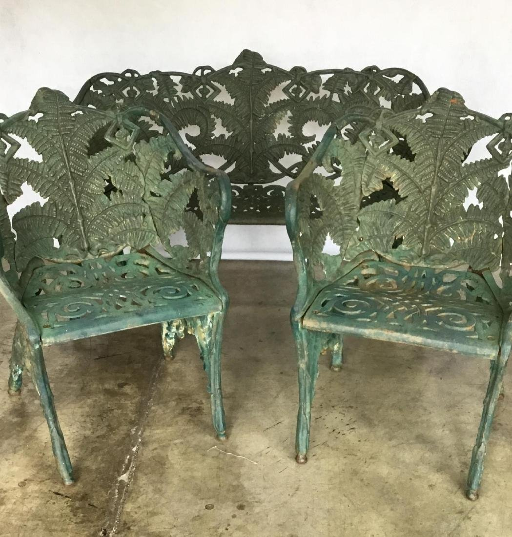 Antique Victorian Three-Piece Green Painted Cast Iron