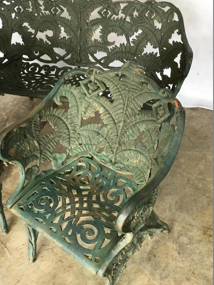 Antique Victorian Three-Piece Green Painted Cast Iron - 3