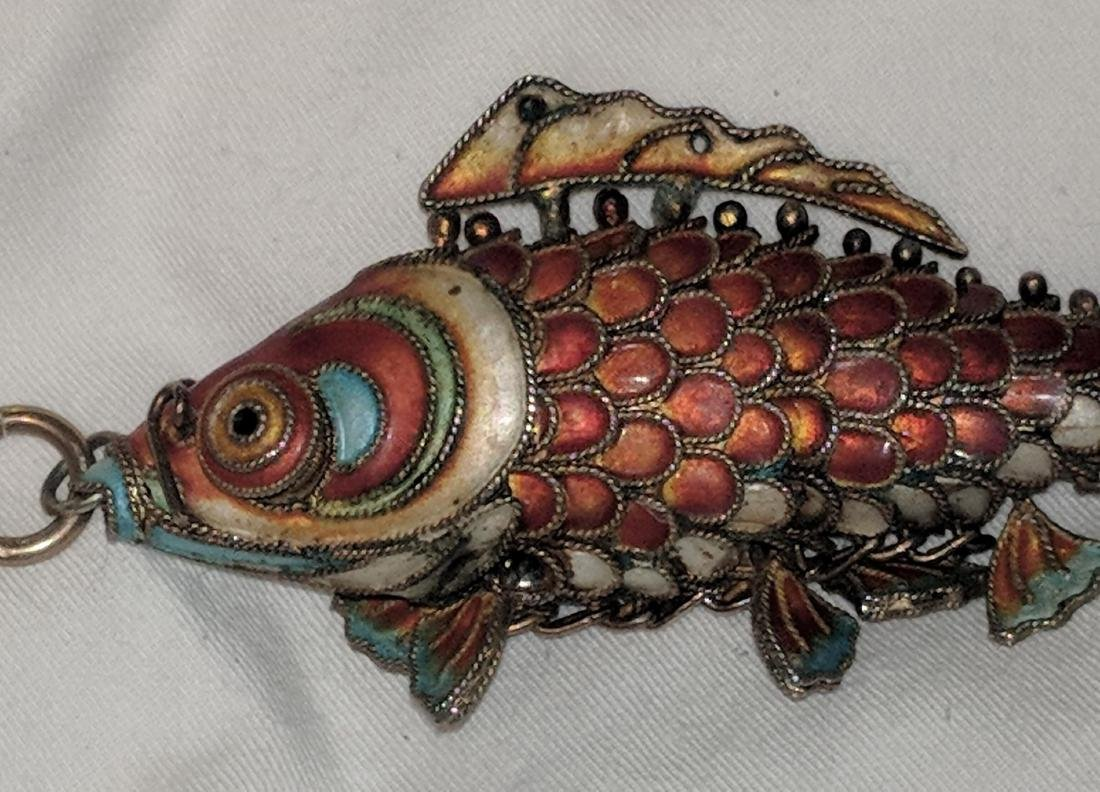 Chinese Silver and Enamel Fish Pendant. - 2