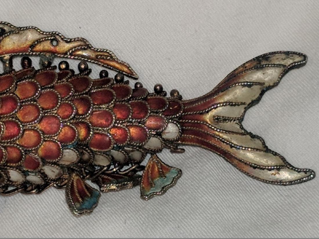 Chinese Silver and Enamel Fish Pendant. - 3