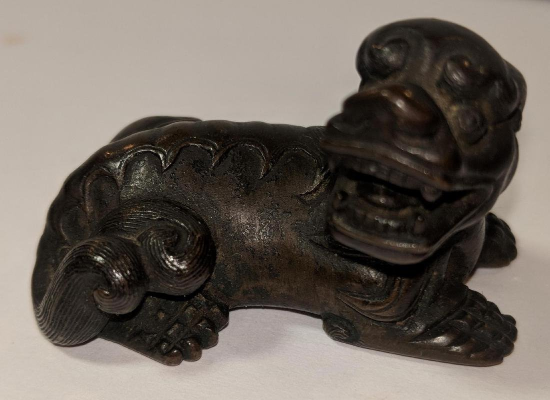 19th  Century or Earlier Chinese Bronze Reclining Foo - 2